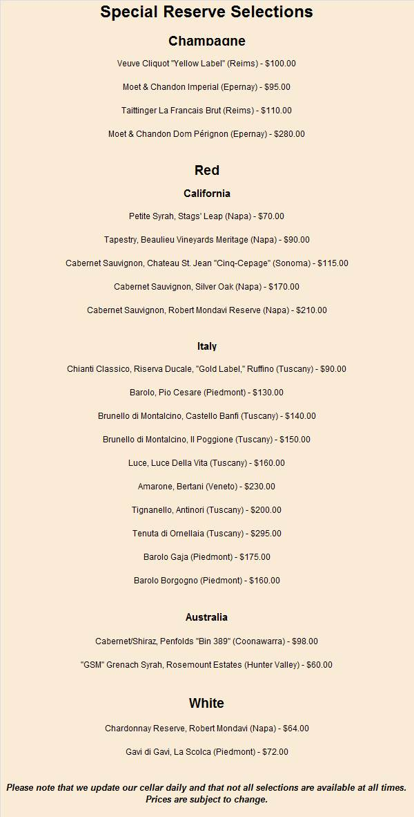 Reserve Wine List